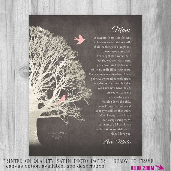 Beautiful poem - gift from daughter to her mother. A beautiful, one of a kind art print keepsake your mom will always cherish - with a poem
