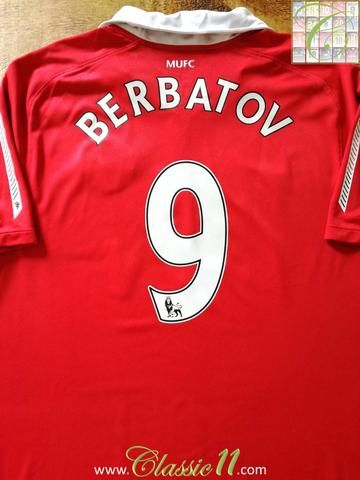 Official Nike Manchester United home football shirt from the 2010/2011 season. Complete with Berbatov #9 on the back of the shirt in Premier League lettering.