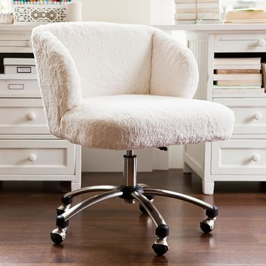 "Ivory Sherpa Wingback Desk Chair $249, 24.5""W 24.5""D 29.5-32.5""H"