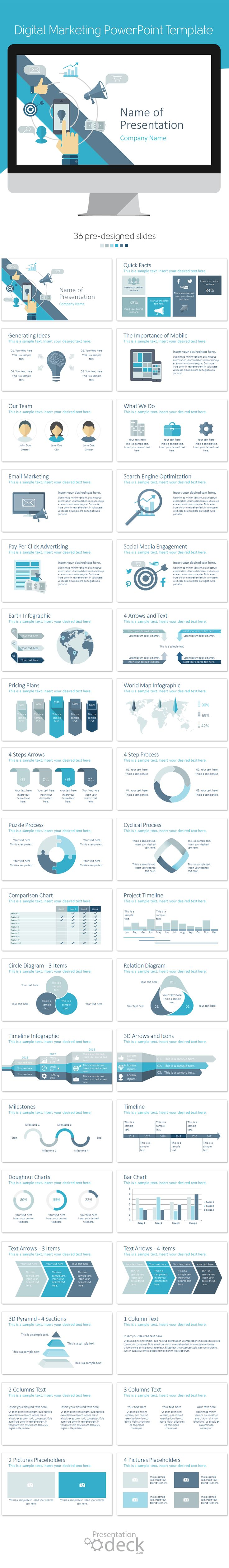 Digital marketing PowerPoint template in flat design style including 36…