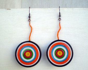 Colorful Dangle Earrings Eco Friendly  Paper Jewelry Statement Earrings Ready to Ship / Πολύχρωμα Χάρτινα Σκουλαρίκια