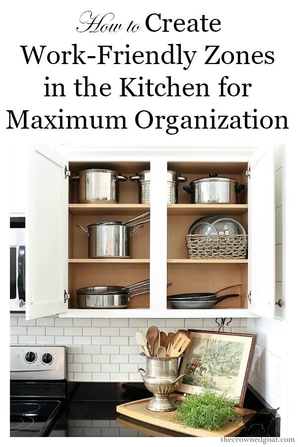 how to organize your kitchen into work friendly zones in 2020 kitchen organization home decor on organizing kitchen cabinets zones id=66415