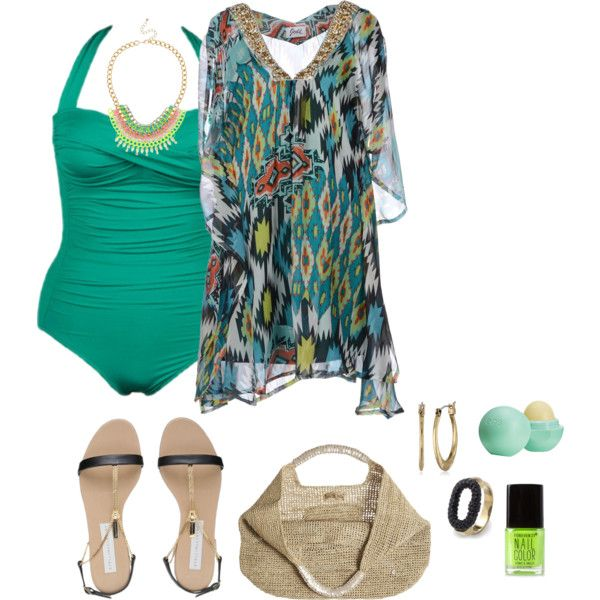 plus size beach ready, created by kristie-payne on Polyvore