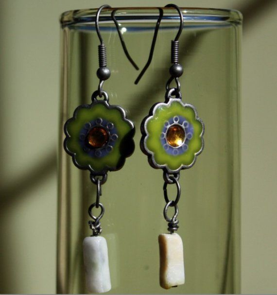 Lemon Stone and Moss Green Enamel Dangle Earring by MerelyEclectic, $20.00