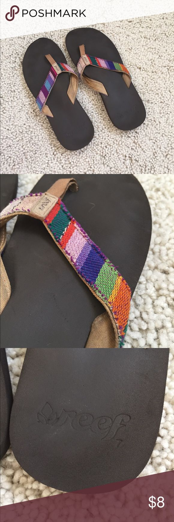 Multi colored Reef Flip Flops Fun multi colored flip flops for any summer occasion! Size 7 brand Reef in good condition. Reef Shoes