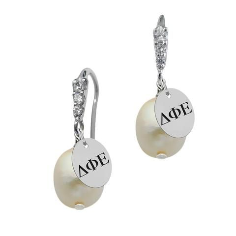 These sorority earrings feature 6 round cubic zirconia subtly accenting your sorority's logo The subtle sparkle of the CZ accents the freshwater pearl beautifully. Our sterling silver logo earring col