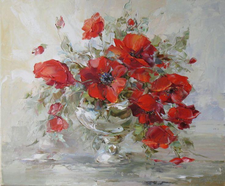 Poppies in a silver bowl by Russian artist, Oksana Kravchenko (1971) Russia, Novouralsk