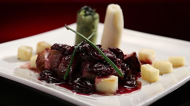 MKR4 Recipe - Tea Smoked Duck with Crispy Potatoes, Leeks and Cherry Sauce