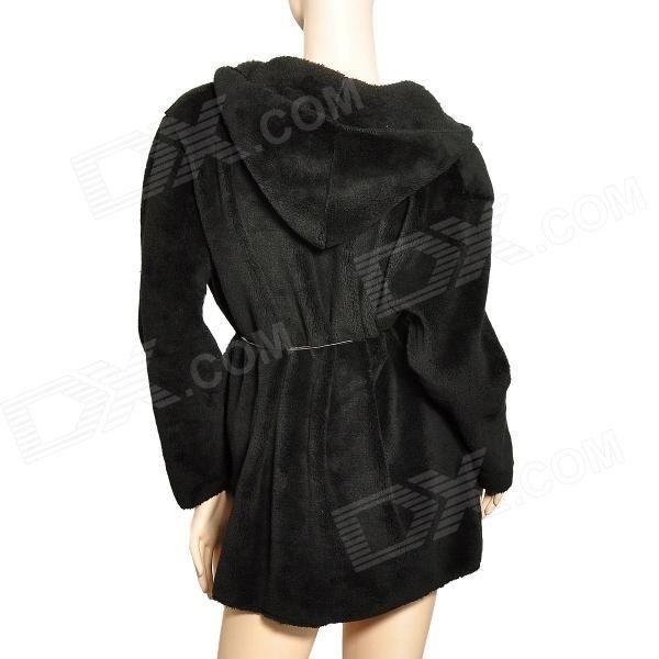 Fashionable Lady's Soft Plush Coat w/ Hat - Black