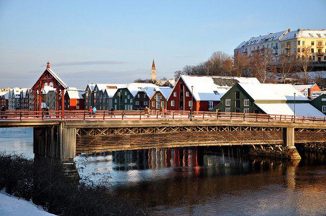 Old town bridge in Trondheim, Norway