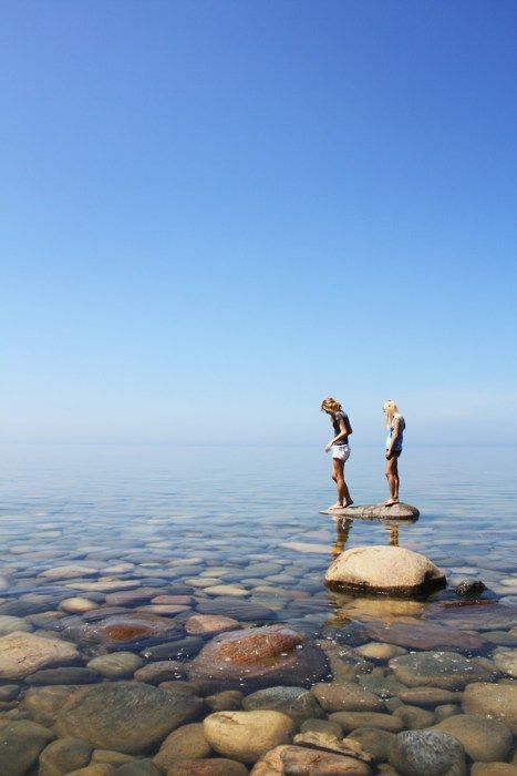 Clear: Summer Day, The Rocks, Step Stones, Lakes Superior, Islands, Places, Lakes Michigan, Great Lakes, The Sea