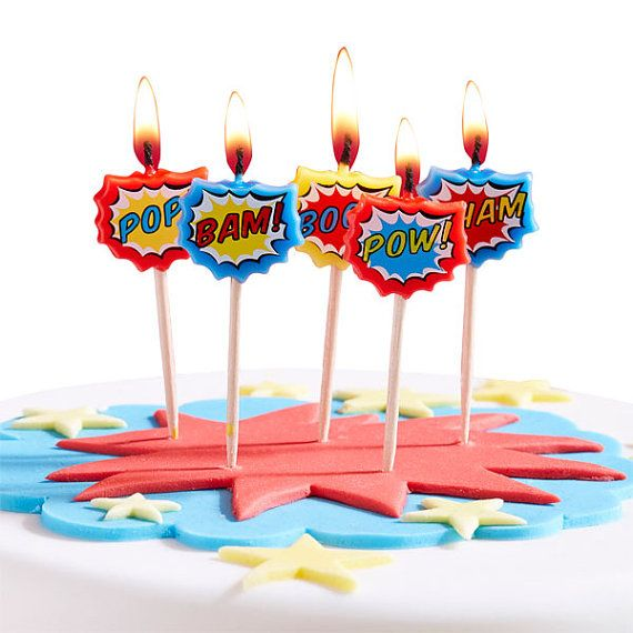 Super hero birthday candles birthday candle 1st by evescrafts