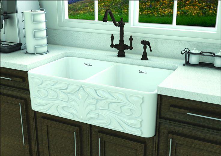 Whitehaus Gothichaus Reversible Series fireclay double bowl sink-White