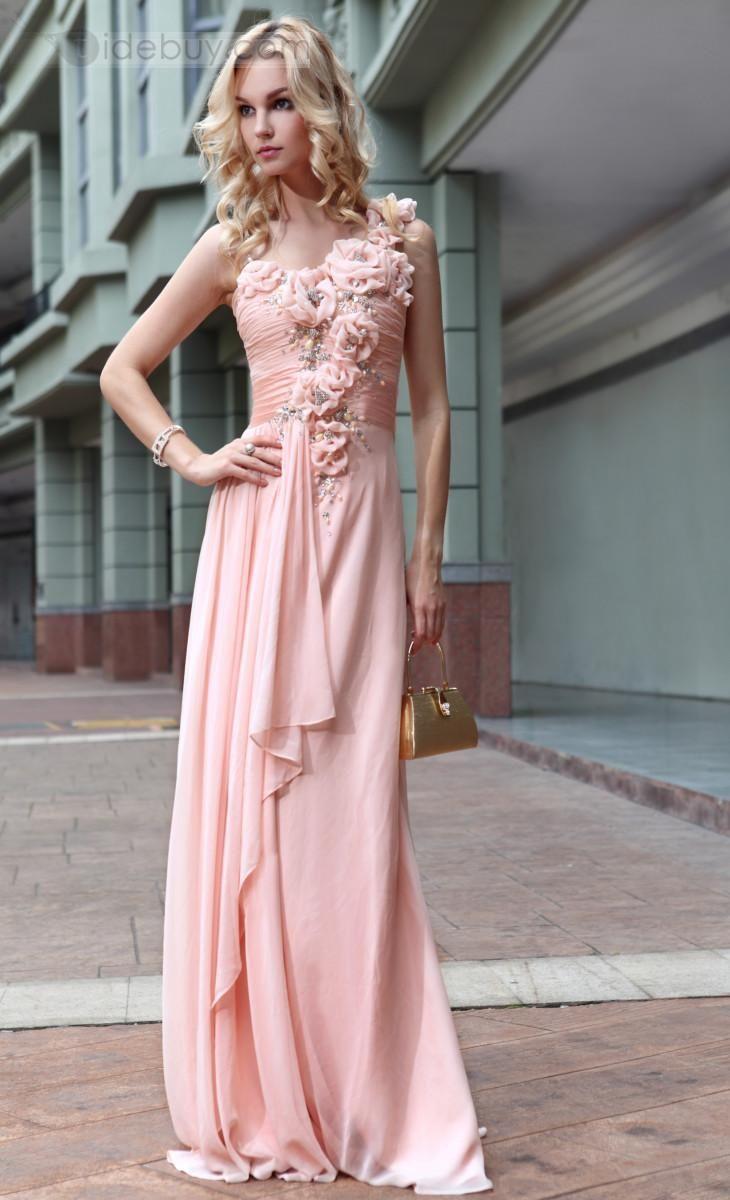 A-ライン/プリンセスワンショルダーフラワーロングフロアイブニングページェントドレス