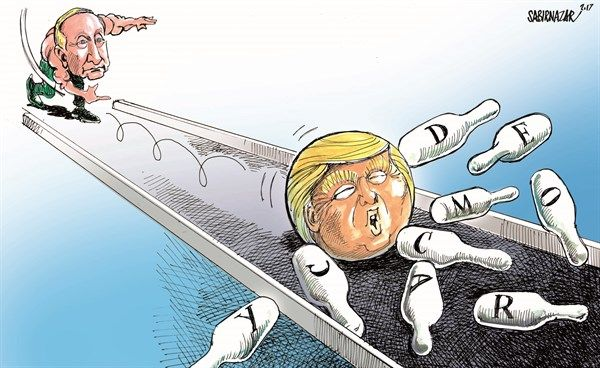 Sabir Nazar - Cagle.com - Putin and democracy in America - English - Putin,Federal Budget, Appropriations, Fiscal Year 2017, Democracy, Governance, Human Rights,Middle East,North Africa,Trump, United States, pro-democracy organizations,NED,