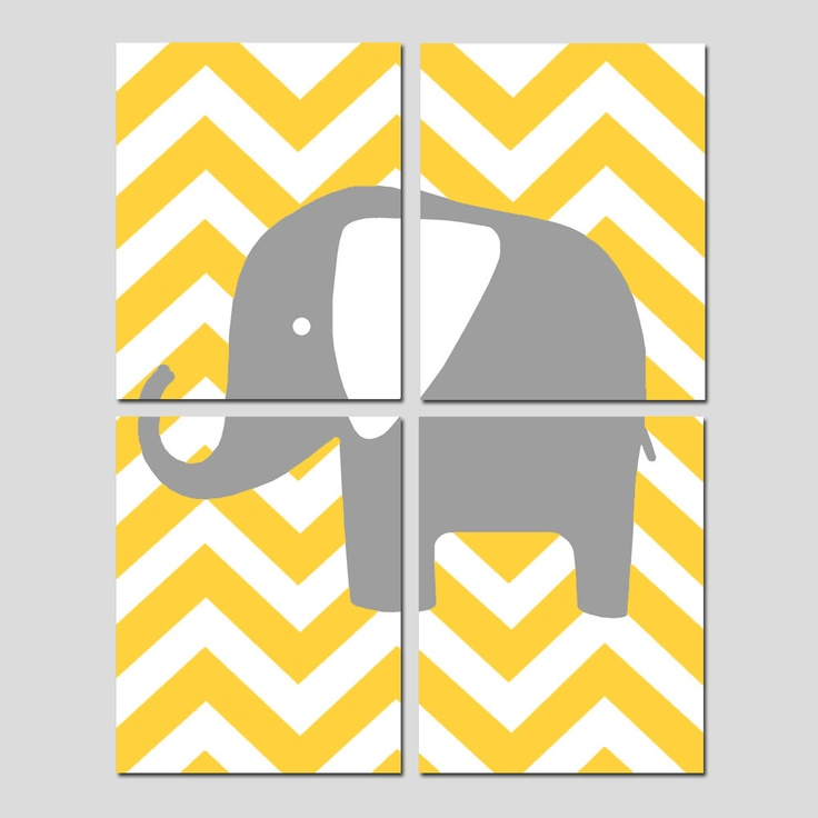 Modern Nursery Quad - Set of Four 8x10 Prints - Chevron Elephant - Yellow, Gray, Orange, Pink, Aqua, and More. $65.00, via Etsy.