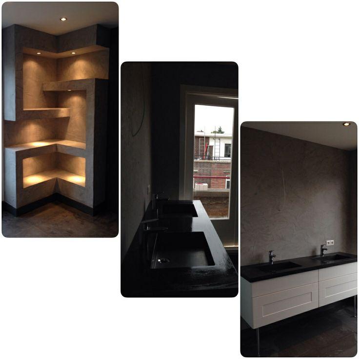Betonstuc badkamer vakkenkast gerealiseerd door onze top vakman Edgar
