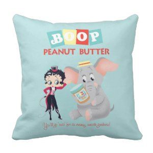 Booparama Betty Boop Peanut Throw Pillow Get Personal with #BettyBoop  - Personalized clothing, cards and gifts!! #streetstyle http://leahg.me/get-personal-with-betty-boop-personalized-clothing-cards-and-gifts/