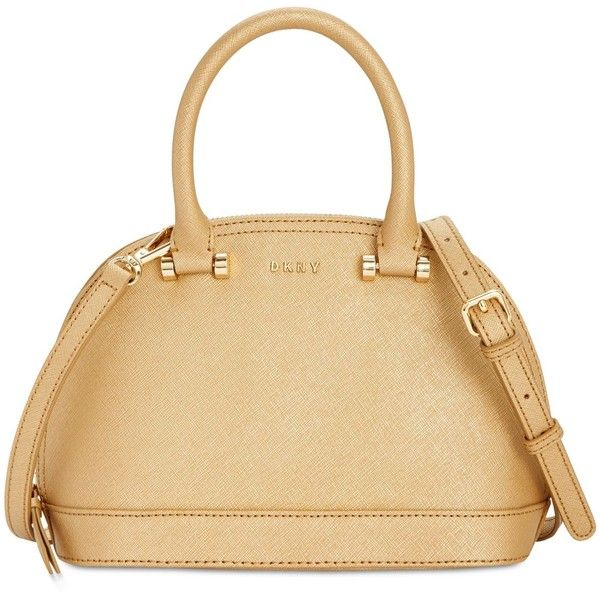 Dkny Round Small Satchel, Created for Macy's (475 BRL) ❤ liked on Polyvore featuring bags, handbags, gold, dkny, beige handbags, beige purse, satchel purses and dkny handbags