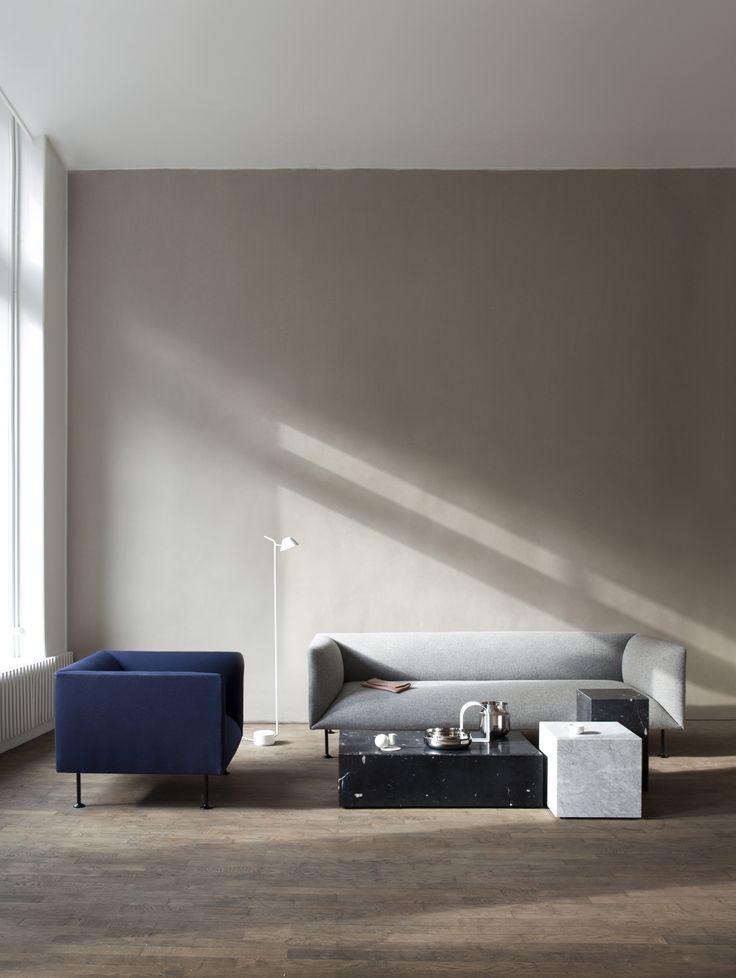 MENU, Location Godot Sofa, Plinth Marble, Peek Floor Lamp, Kinfolk