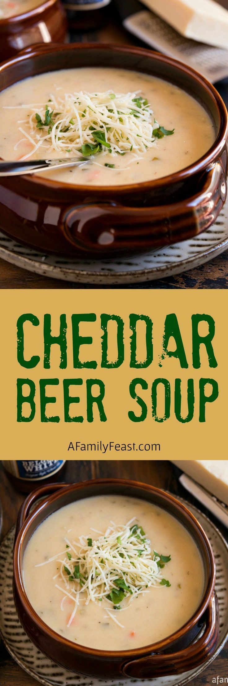 Cheddar cheese and a smooth, pale ale are the perfect pair in this creamy, delicious Cheddar Beer Soup! via @afamilyfeast