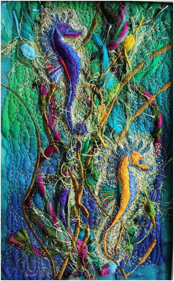 seahorses by Michelle Mischkulnig (Chelle Textiles) hand painted silk, felt and other silk threads, free hand machine embroidery