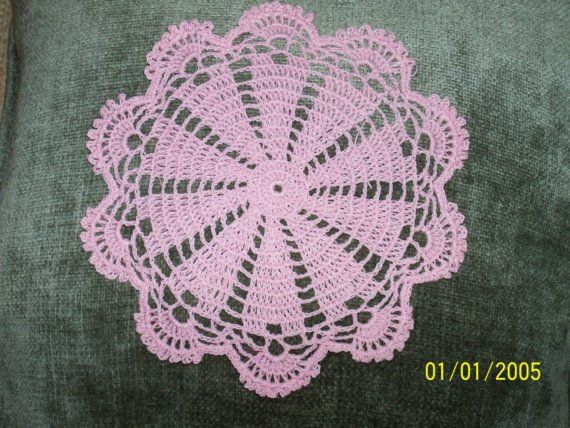 THIS IS MY DOILY FOR THINK PINK FOR THE CURE OR YOUR SHABBY CHIC DECOR !    I DESIGNED IT TO BE CLOSE TO YOUR HEART!    crocheted of a 100%