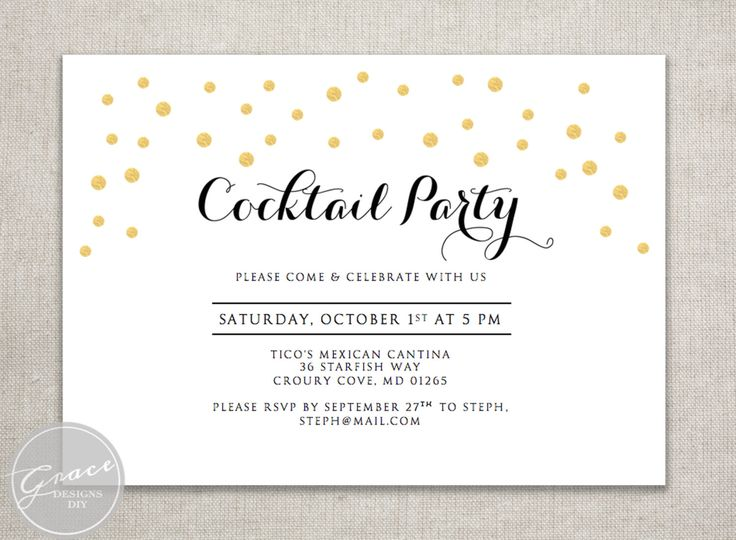 Printable Gold Confetti Cocktail Party Invitation / Gold faux foil confetti / Black calligraphy style script / Instant digital download by GraceDesignsDIY on Etsy https://www.etsy.com/au/listing/246626409/printable-gold-confetti-cocktail-party