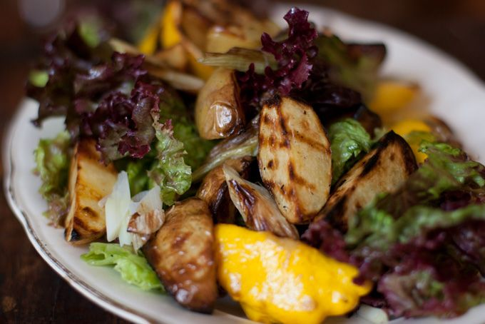 """Grilled Potato Salad Recipe: """"[A]ll the mayo and mush you get with many American potato salads I can do without. I thought a grilled potato salad might be a fun alternative."""""""