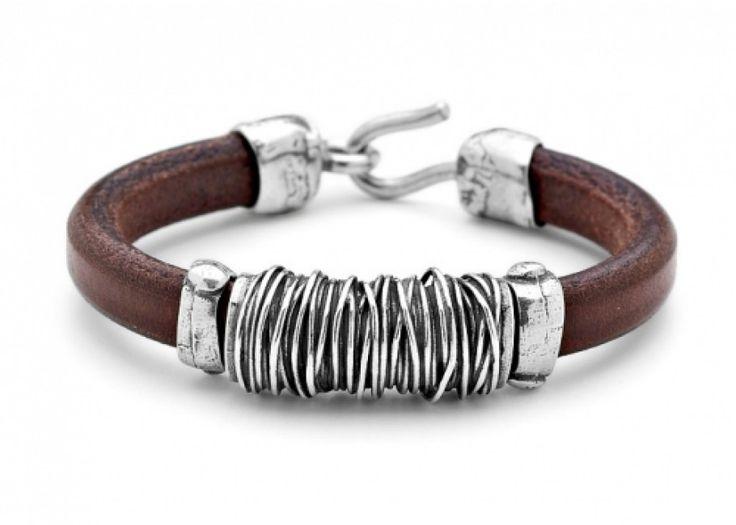 Platadepalo pulseras de cuero y plata para hombre