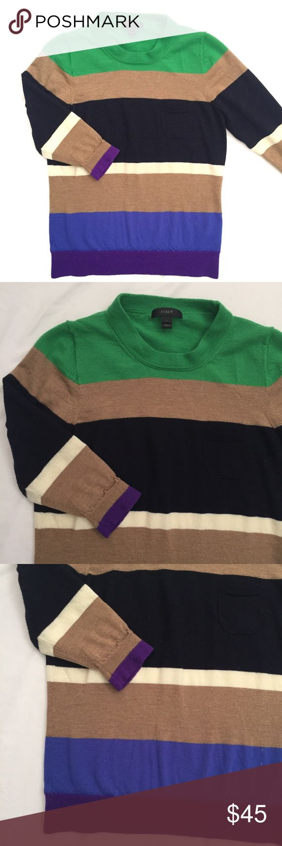 """J. Crew striped color block crew neck sweater This is a great sweater with varying shapes and shades of stripes. Goes great with a collared shirt underneath paired with jeans or dress slacks.  Measurements laying flat:  * Bust 18"""" * Length 23"""" * Arm 17"""" (elbow length)  Condition/Flaws * Gently used, but still in excellent condition * No significant flaws (stains, rips, pilling)  Item # * RS114.31217 J. Crew Sweaters Crew & Scoop Necks"""