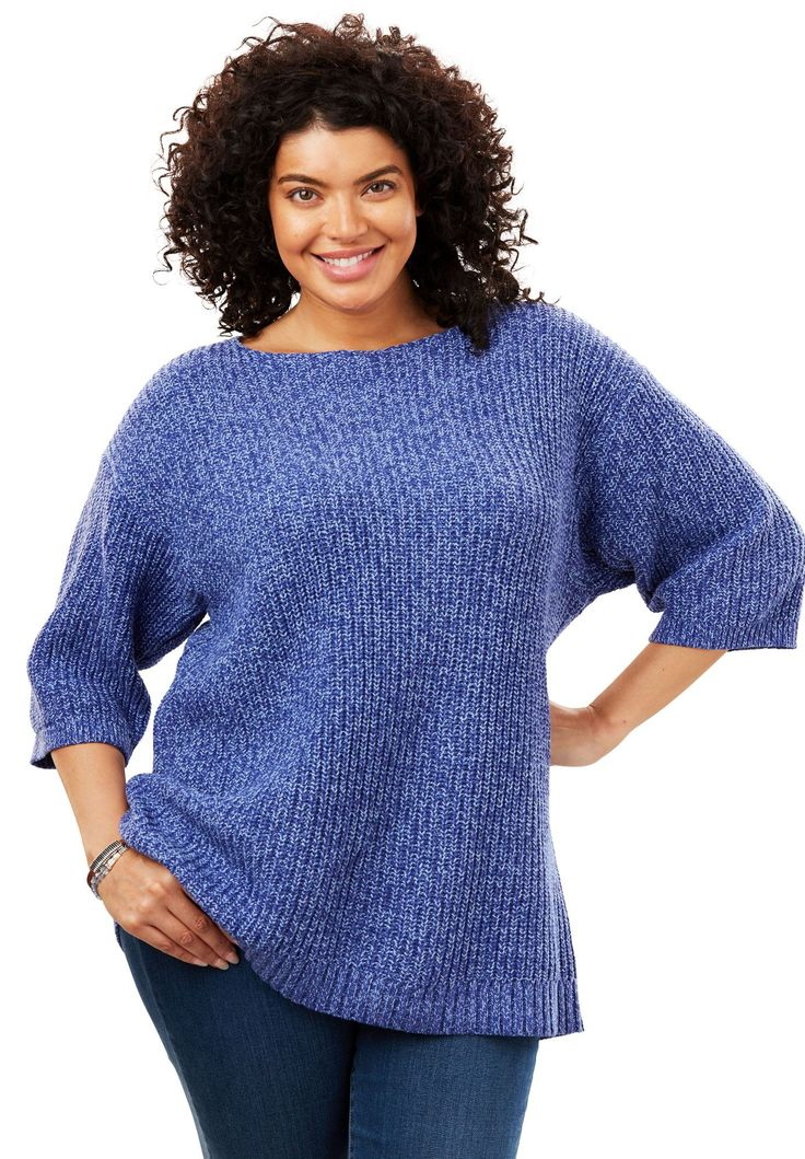 Square Neck Pullover Sweater - Women's Plus Size Clothing 2