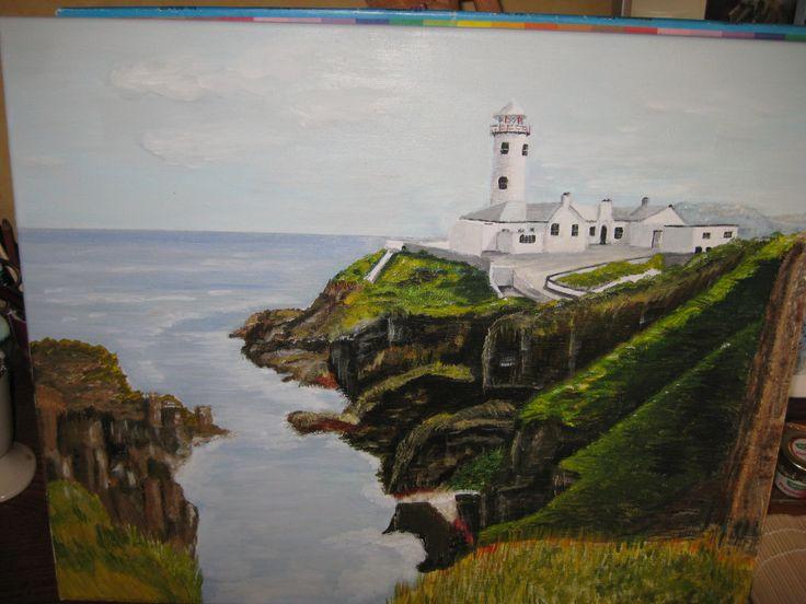 Lighthouse in Ierland acrylverf