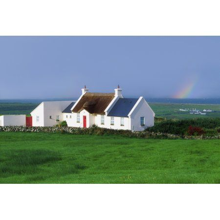Posterazzi Doolin Co Clare Ireland Renovated Cottage Canvas Art - The Irish Image Collection Design Pics (36 x 24)