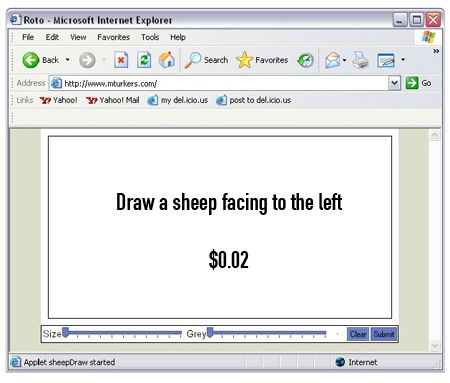 """Aaron Koblin, """"The Sheep Market"""", 2006.  """"Workers were paid 0.02 ($USD) to """"draw a sheep facing to the left."""""""