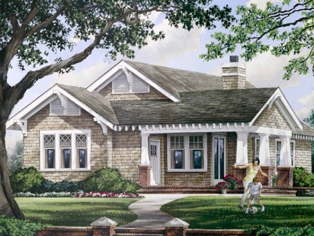 Craftsman house plan 3 bed 2 bath great room 1628 sq for Craftsman house plans with basement