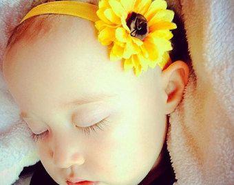 Fascia del bambino girasole, girasole archetto, fascia del bambino girasole, giallo fiore fascia, fascia gialla del bambino, fascia del bambino estate