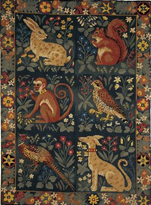 Heraldic Animals Embroidered wallhanging  Tapestry Kit  Morris and Sons