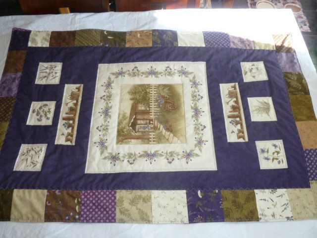 Quilted Wall Hanging, Quilted Table cover, Quilted small bed cover, Gardening shed and tools by SewWhatFabric on Etsy