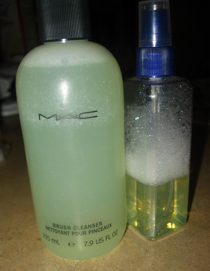 DIY BRUSH CLEANER 1 c. h2o, 1/4 c. alcohol, 1/2 T. dish