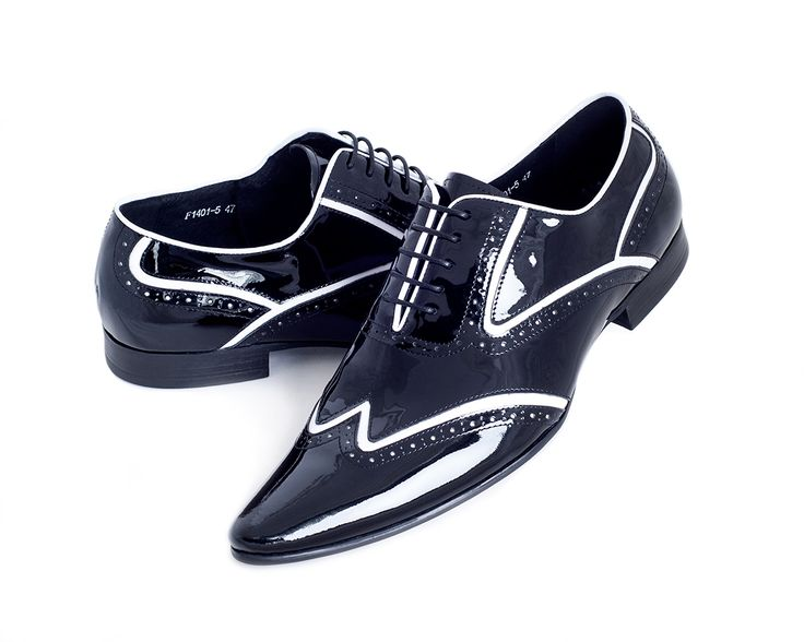 Black Men's Designer Shoes with White Pin Stripe