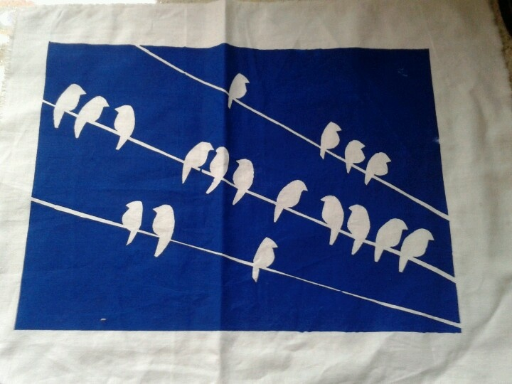 Bird on a wire; simple screen print using duct tape and ink on scrap cotton