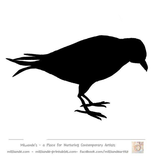 Crow Silhouette Bird Stencil Template
