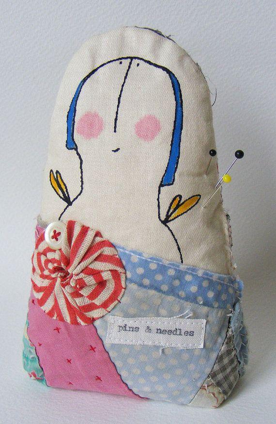 Handmade Pin Cushion Screen printed Lovely Lavinia by hensteeth, $32.00