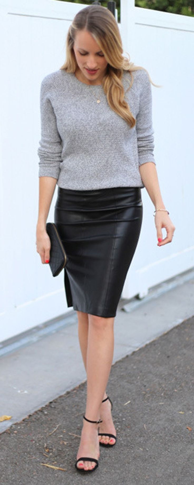 ❤Long sleeve sweater with leather skirt❤ Don't care if this is a trend now, this is my style. Gotta love the leather