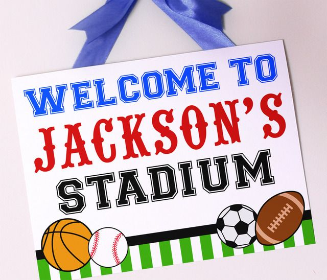 "Sports birthday party ""welcome"" sign-great idea for the front door to greet your guests as they arrive."