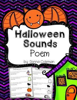 Here's a little resource to go along with the Halloween Sounds poem. It includes: - color and black & white versions of the poem - picture cards to act it our - word cards for pocket chart station