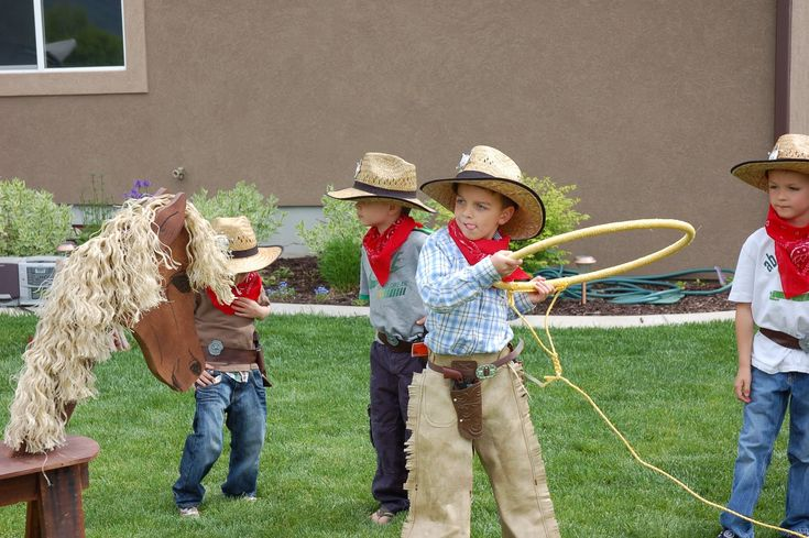 Lasso the horse game using rope and a hoola hoop