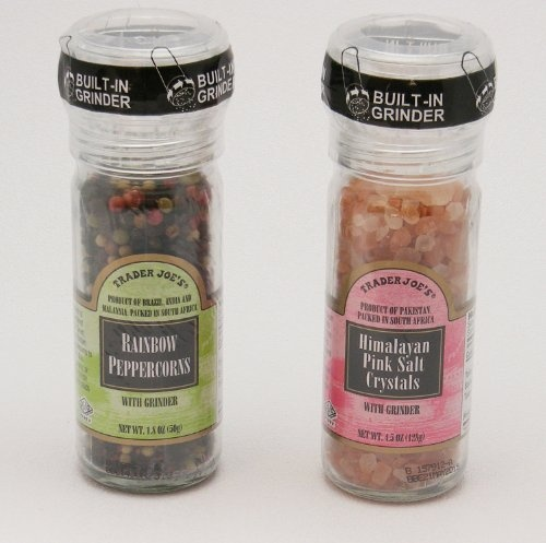 Trader Joe's Gourmet Set with Grinder Tops: Rainbow Peppercorns/Pink Himalayan Salt Crystals - plus you can find all the Trader Joe locations so you can find the one nearest you.  Trader Joe's is a great store.