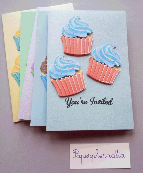 Yummy Sparkly Retro Cupcake Invitations by PaperphernaliaDesign, £7.00